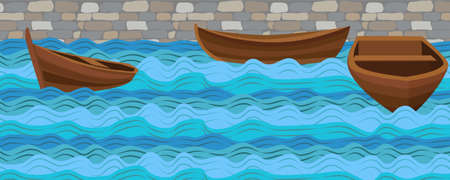 calm water: Boat boats wooden simple three ship on water sea river ocean wave waves calm tide roller wash brick stone wall background. Vector closeup side front beautiful horizontal sign signboard illustration Illustration