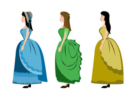 renaissance woman: Girl woman women lady female person human people dressed dress blue green yellow vintage profile vector vintage closeup beautiful horizontal illustration clip art full length isolated white background