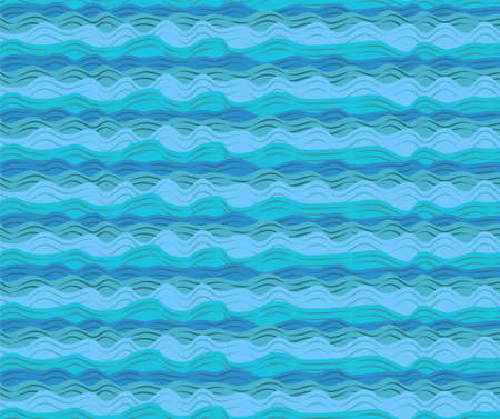 calm water: Water sea ocean aqua waves wave blue pattern seamless calm tide roller wash texture wallpaper paper background design. Vector horizontal closeup beautiful side view black outline simple illustration