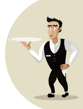 side dish: Men male person young waiter steward garcon flunkey flunky cartoon happy smile serving go dish food silver tray portrait. Vector close-up vertical beautiful cute illustration sign isolated background