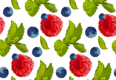 mint leaf: Raspberry blueberry berry mint leaf set collection taste color sweet cute fresh natural seamless beautiful food pattern background texture vector closeup top illustration isolated white background