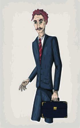 Vector line illustration of young business men holding vintage bag or diplomat case Illustration