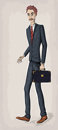 Men maleperson human people in suit jacket shoes tie hold case bag diplomat in hand go went work business. Vector retro vintage close-up beautiful vertical illustration sign signboard Illustration