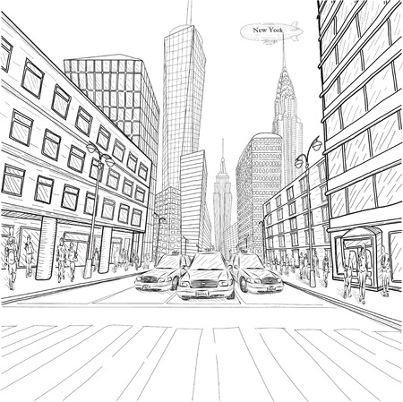 New York building Empire State Chrysler Building city landscape taxi cars car street