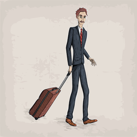 Men male person human people in suit jacket shoes tie hold travel case bag in hand business. Vectores