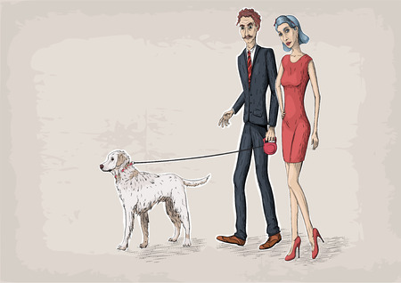 labrador: Woman female and business beautiful men caucasian young  person people couple walking with white labrador dog. Vector close-up horizontal illustration line linear color sign isolated beige background