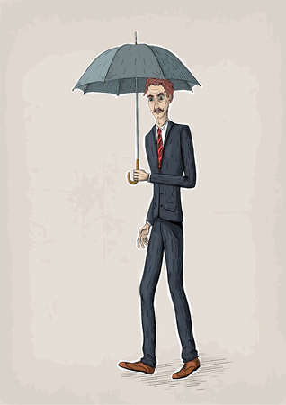 Vector line illustration of young business men walk and hold an umbrella in hand Illustration