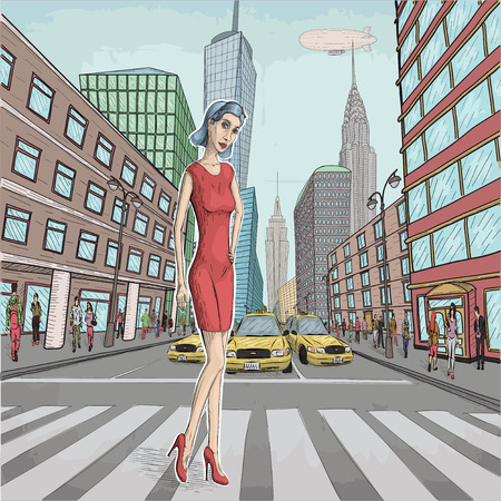 Vector illustration of beautiful young woman lady in red dress with blue hair walking on New York modern city street on crosswalk. Vintage retro styled line image
