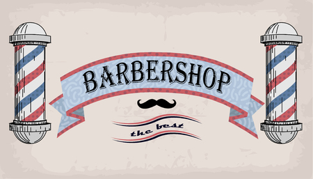 Poster logo sign signboard fascia or shingle for barber, coiffeur, haircutter, vintage retro inscription barbershop. Vector vertical closeup front view beautiful old school signboard  barbers salon Illustration