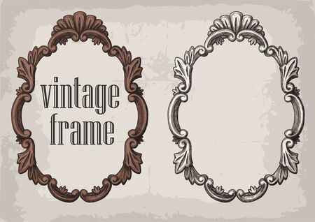 Set of vector hand drawn vintage frames. Collection of retro style design elements, postcard, banners, logos. Vector template