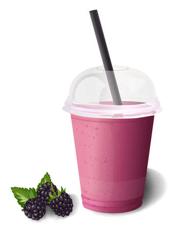 dewberry: Smoothie fresh ripe natural blackberry or dewberry, berries & leaves, plastic cup to go, straw, tube. Illustration