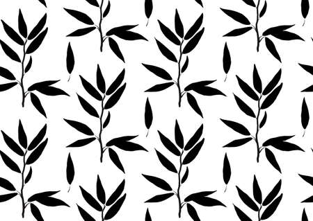 laurel leaf: Eucalyptus longifolia, woolly butt gum-tree leaves brunch sprig organic seamless pattern. Vector black silhouette beautiful herbal laurel leaf plant nature illustration isolated on white background.