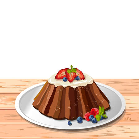 fruitcakes: Traditional easter holiday fruit cake with frosting and fresh berries: strawberry blueberry raspberry mint leaf. Vector illustration side view of fresh homemade baked product white plate, wooden table