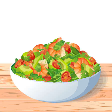 Vegetable healthy asian dietary organic salad: fresh tasty tomatoes shrimps arugula, avocado, parsley, spinach in bowl, on wooden rustic table white background. Illustration
