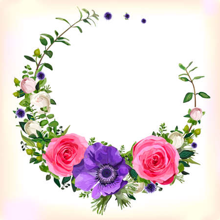 Flower circle round wreath coronet flowers pink Rose purple Anemone poppy leaves beautiful lovely spring summer bouquet vector illustration.