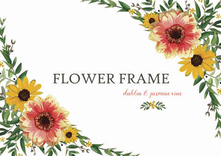 inscriptions: Flower Wreath yellow orange Dahlia Sunflower, Eucalyptus Leaves beautiful summer bouquet vector illustration top horizontal elegant Watercolor design greeting invitation card isolated white background