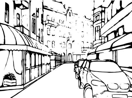 frontal: City street building house realistic contrast black and white line car historical Lviv urban life landscape background. Vector close-up front frontal road way exterior facade illustration