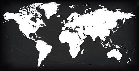 벡터 빈 흰색 실루엣 유사한 세계지도 단색 Worldmap 템플릿 웹 사이트 디자인 연례 보고서, infographics. 상세한 평면 지구 그래프 세계지도 그림 검은 칠판