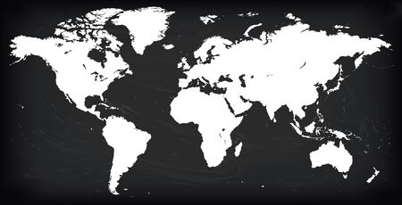 Vector Blank white silhouette similar World map Monochrome Worldmap template website design annual reports, infographics. Detailed Flat Earth Graph World map illustration black chalkboard background