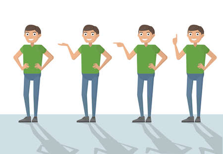 Man male person funny cartoon casual in various poses pointing with hand for use in presentations. Vector closeup flat design character color illustration isolated white background