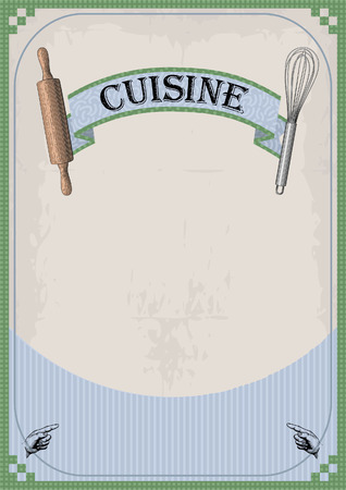 facia: Frame border sign signboard for cuisine menu card vintage retro inscription, whisk and rolling pin,pointing fingers. Vector vertical closeup front view beautiful old school signboard cafe restaurant