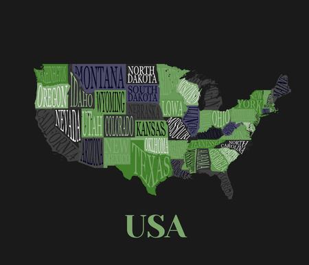 USA Map With States Pictorial Geographical Decorative Poster - How to free hand a map of the us