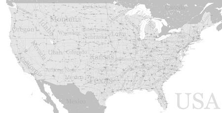 벡터 높은 상세한 정확한 정확한 미국 미국도 미국 고속도로지도 도시 레이블이 지정합니다. 지리적 회색 반음 관리지도, 주 이름. 편집 가능한지도 제작 그림