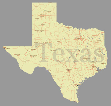 Texas accurate exact detailed state map with community assistance and activates icons original pastel illustration.