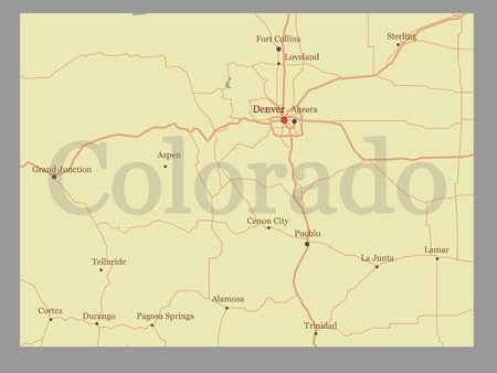Colorado vector State Map with Community Assistance and Activates Icons Original pastel Illustration isolated on gray background.