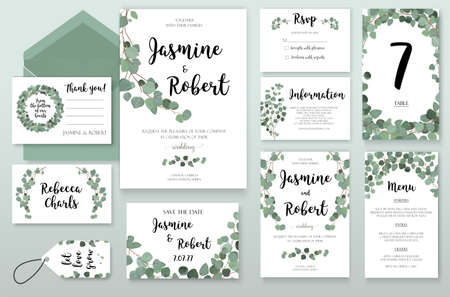 Wedding Invitation invite card Design with Eucalyptus green silver branches, leaves foliage composition wreath. Vector Botanical Template forest elegant cute set collection.Anniversary greenery layout