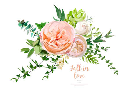 greenery: Flower Bouquet vector design object element. Peach, pink rose, eucalyptus, succulents berry herbal mix. Greeting lovely floral card elegant template with text space. All elements isolated and editable