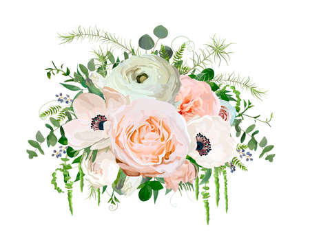 postcard: Flower Bouquet vector design object element. Peach pink garden Rose Eucalyptus ranunculus white Anemone Poppy flowers berry herb mix Lovely floral elegant wedding card. All elements isolated, editable