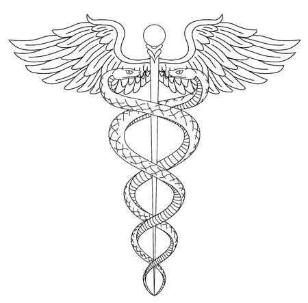 Cadeus 医療医学薬学博士著科学のシンボルです。カントーを持つヘビを黒色で描画線形ベクトル手は翼剣背景です。ギリシャ文化をヴィンテージ病院  イラスト・ベクター素材