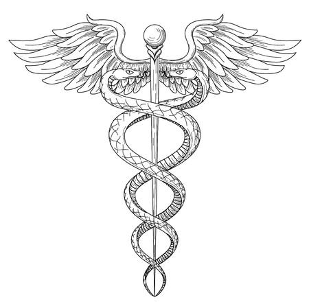 Cadeus Medicina medecina farmacia médico acient alto símbolo detallado. Vector dibujado a mano serpientes lineales tho negro con alas espada de fondo. Antiguo elemento de hospital griego de cultura antigua. Diseño de tatuaje.