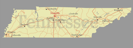 Tennessee accurate detailed map.