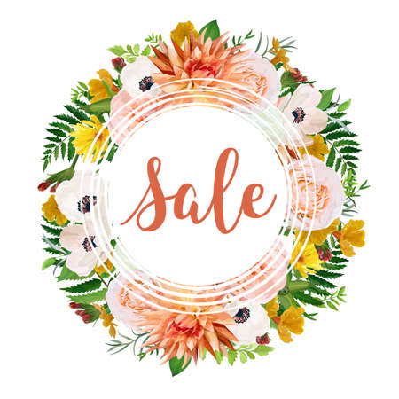 Summer sale vector banner, poster background wreath with pink garden rose dahlia flowers anemone calendula greenery herb mix. Elegant Illustration template design. Flyer brochure discount, visit card