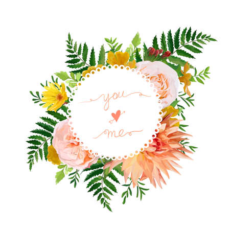 Flower airy wreath bouquet of pink garden Rose, yellow calendula, Primrose orange Dahlia flowers forest fern green leaves greenery. Wedding trendy vector watercolor style love card illustration design