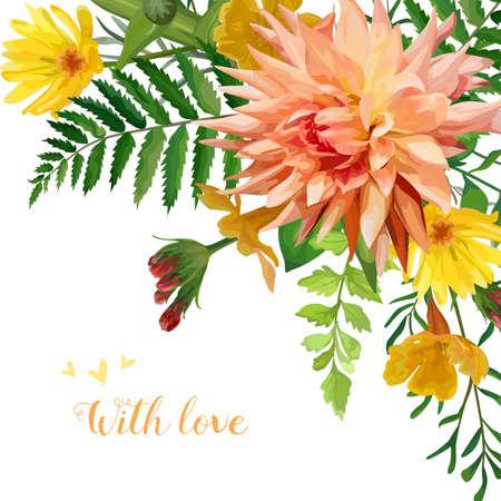 calendula: Vector flower square card design. Garden Rose Primrose orange Dahlia yellow flowers forest fern green leaves plants. Elegant Greeting  wedding invitation. Frame, fall cute border copy space. With love