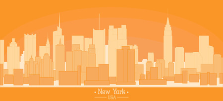 Linear banner of New York city buildings landmarks day skyline silhouette vector illustration. Cityscape orange color Line art USA nyc modern flat panorama for project design, web banner travel poster Illustration