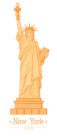 Statue of Liberty Cartoon with torch Flat Design Style Landmark  famous Tourism Symbol of Freedom Vector Web Element geometric illustration in orange color. American nyc art drawing poster card banner