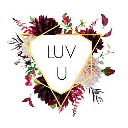 Vector design floral flower card. Triangle naturel géométrique Cadre Dahlia jardin rose bordeaux fleurs rouges astilbe feuilles de chardon mélange cadre composition vectorielle. Bordure d'or. Illustration