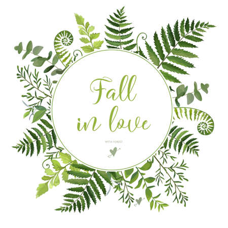 romantic date: Green Leaves foliage vector round greenery leaf wreath of eucalyptus branches forest fern frond herb plant assortment mix card design Delicate natural rustic elegant watercolor illustration text space