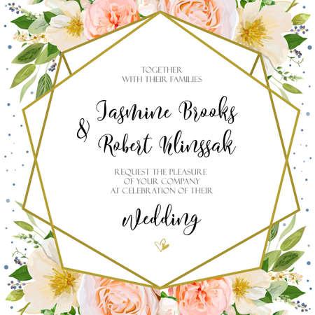 Wedding Invitation Invite Card Design With Pink Peach Rose Flower – Invite Card