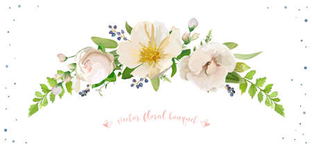 Flower Bouquet vector object object Light pink rose white camellia magnolia silver sage forest fern leaves privet blue berry delphinium herbal mix Lovely floral wreath decorative elegant card