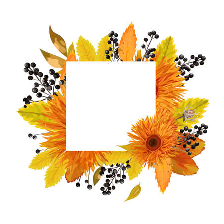 Vector floral design card Autumn orange gerbera flower black berry branch yellow brown colorful fall tree leaves.