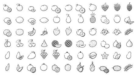 Illustrazione set di icone web lineare - Frutta e bacche Icone linee sottili per il business, l'interfaccia, il tempo libero. Arancio, papaya di ciliegio, papaya, pera, kiwi, limone e altre varietà di cibo tropicale Archivio Fotografico - 85897569