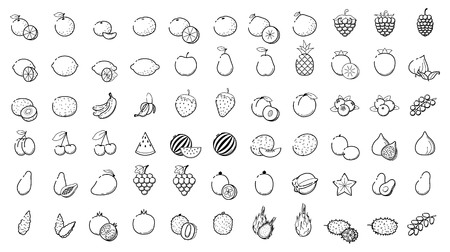 Outline linear web icon set - Fruit and berries Thin Line Icons For Business, Interface, Leisure. Orange, banana grape cherry mango papaya, pear, kiwi, lemon and other various tropical food collection