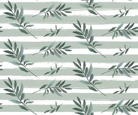 olive green: Seamless pattern vector of olive leaf branch, eucalyptus light green silver blue leaves greenery leafy, floral Elegant design texture, srtiped background watercolor drawn illustration, paper wallpaper Illustration