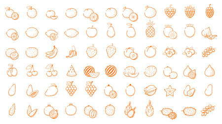 Big icon logo set - Fruit and berries Thin Line outline linear Business icons Interface, Leisure. Orange, banana, strawberry cherry mango papaya, pear, kiwi, lemon and other vegetarian food collection Illustration