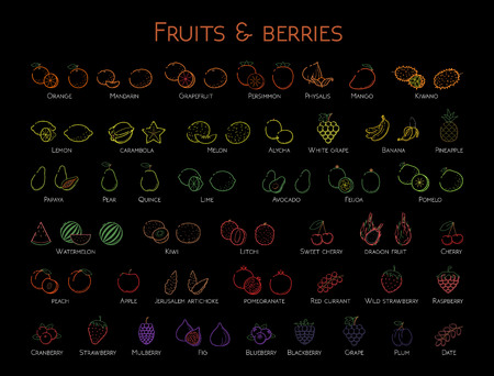 Outline colorful linear web icon set - Fruit & berries Thin bold Line food Icons For logo, label Orange banana melon apple, grape, kiwi cherry, peach, fig kiwi, lemon, tropical big collection on black